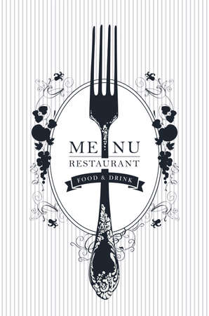 Vector template of restaurant menu decorated with a beautiful antique fork and floral ornaments in Baroque style on a striped background. Black and white menu design for a restaurant with fine cuisine 矢量图像