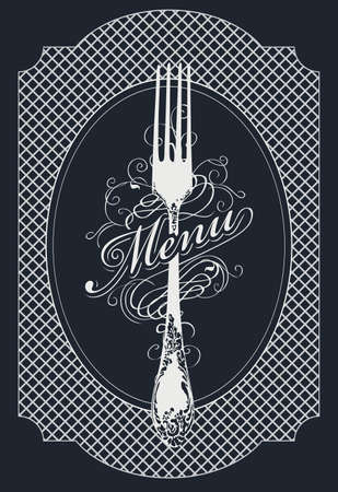 Vector template of a restaurant menu decorated with a beautiful antique fork and curlicues in retro style on a black background. Black and white menu design for a gourmet restaurant