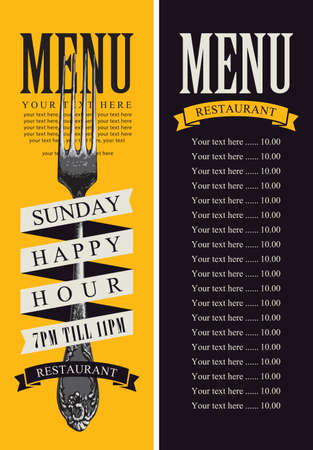 Template of a restaurant menu with a beautiful fork and a price list in retro style on a black and yellow background. Super promotion-happy hours. Vector menu design for a restaurant with fine cuisine