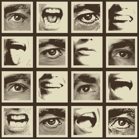 Seamless pattern with a collage of square fragments that depict human eyes and mouths expressing various emotions. Monochrome vector background in retro style. Wallpaper, wrapping paper, fabric