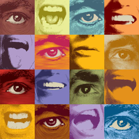 Abstract seamless pattern with square fragments of human faces with eyes and mouths expressing various emotions. Color vector background in retro style. Suitable for wallpaper, wrapping paper, fabric
