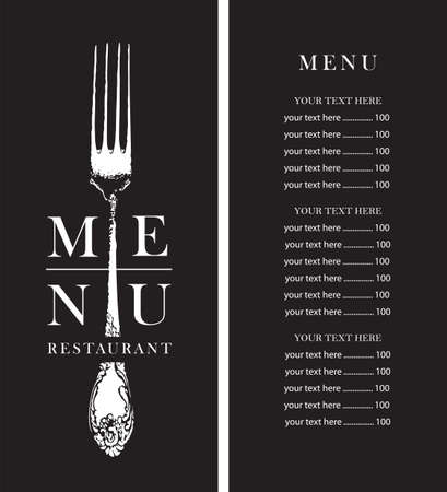 Black and white restaurant menu with a price list, decorated with a vintage beautiful fork on a black background in retro style. Vector design illustration