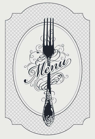 Vector template of restaurant menu decorated with a beautiful antique fork and curlicues in retro style on a light background. Black and white menu design for a restaurant with fine cuisine