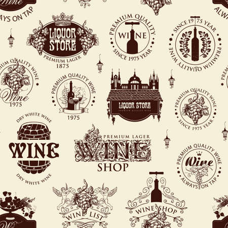 Seamless pattern with wine labels, logos, signs, symbols on a light background in retro style. Repeatable vector background on a wine theme. Suitable for Wallpaper, wrapping paper, fabric, textile