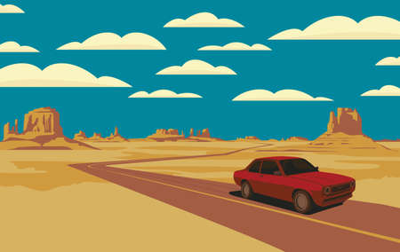 Decorative landscape with a road and a single passing car in the desert with rocks and clouds in blue sky. Vector illustration of a road in form of polyline passing through the barren American scenery