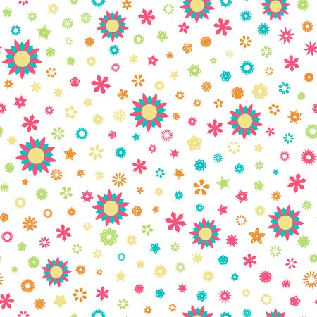 fresh colors: Seamless floral pattern with flowers of fresh colors on a white background Illustration