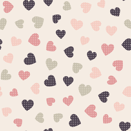 valentineday: Seamless hearts pattern with beige background. Vector repeating texture.