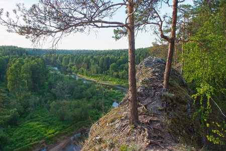 Beautiful mountain landscape with river, Russia, Urals