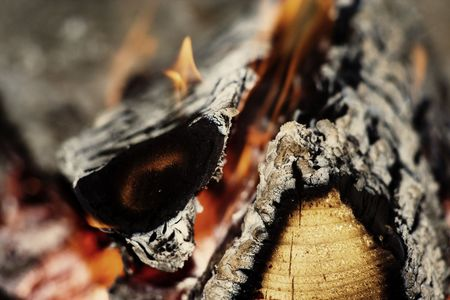 Closeup fireplace with burning fire woods in winter chritmas time. photo