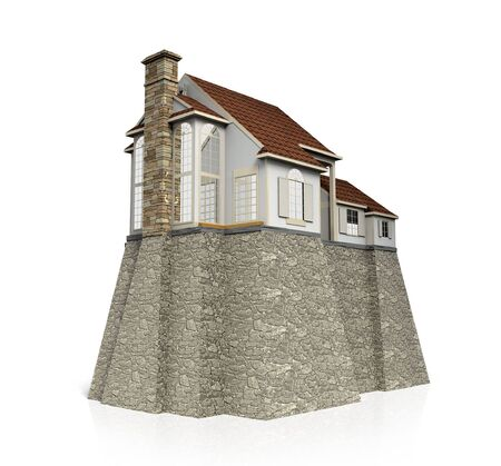 Concept safety house with big strong foundation. Stock Photo - 6079716