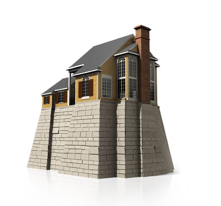 strong foundation: Concept safety house with big strong foundation. Stock Photo