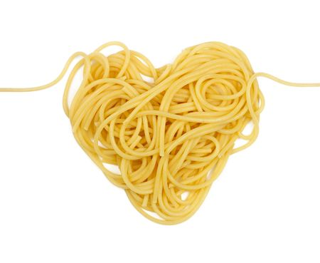 sexy food: Pasta heart (Valentine`s day theme) isolated Stock Photo
