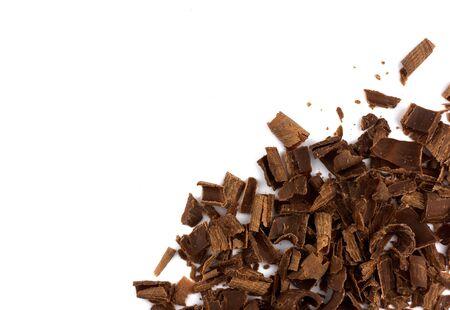 horisontal: chocolate chips isolated on white background Stock Photo