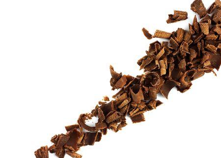チョコレート チップの斜めの白い背景で隔離