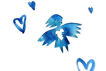 Blue angel of love with heart photo