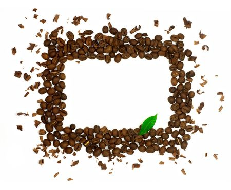 Rectangle symbol made of coffee beans with green leaf isolated on white background photo