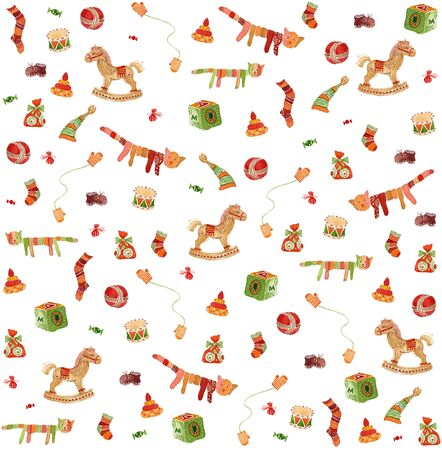 Seamless pattern: baby toys illustration isolated on white illustration