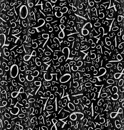 grayscale background: Seamless pattern: simple numbers on blackboard background