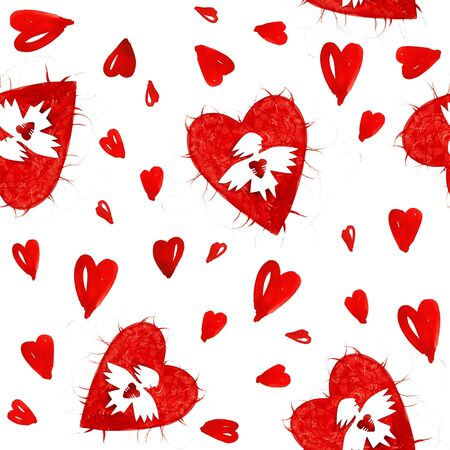 Red angel of love with heart seamless pattern photo
