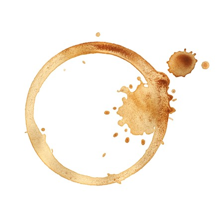 spilt: Coffee cup rings isolated on a white background. Stock Photo