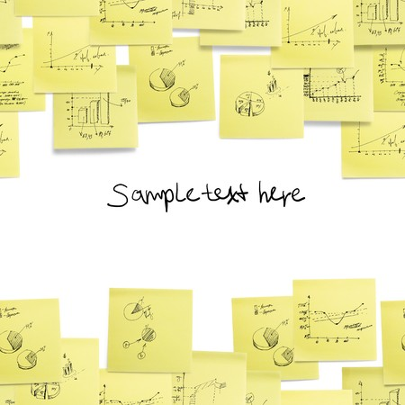 post it notes: Seamless wallpaper: business and finance giagram and analyzing on white background Stock Photo