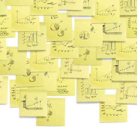 post it notes: Seamless wallpaper upper composition: business and finance giagram and analyzing on white background