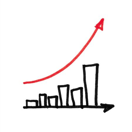 succesful: Red arrow succesful graph. Hand drawing, isolated. Stock Photo