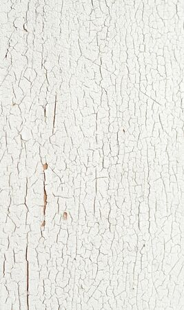 Peeling paint on a white wooden wall background closeup. photo