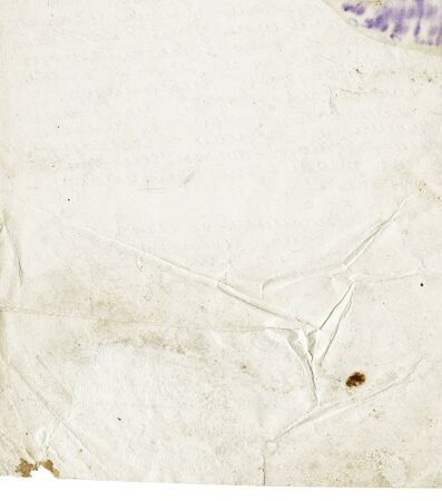 Crumpled sheet from an old letter. Vintage background with isolated (over white) edge. photo