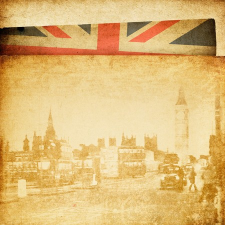 retrospective: Vintage London theme background. Buildings of Parliament with Big Ban tower in London UK view from Themes bridge.