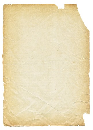 Old torn paper isolated on white background. photo