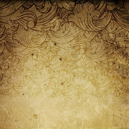 ornamental background: Aged vintage background with floral ornament elements.