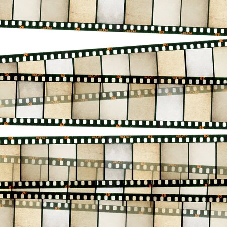 POSITIVE NEGATIVE: Vintage 35mm film stripes background. Isolated on white.