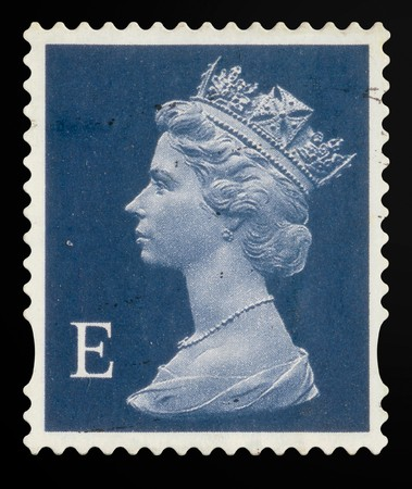 UNITED KINGDOM - CIRCA 2000 to 2003: An English Used First Class Postage Stamp showing Portrait of Queen Elizabeth 2nd, circa 2000 to 2003: