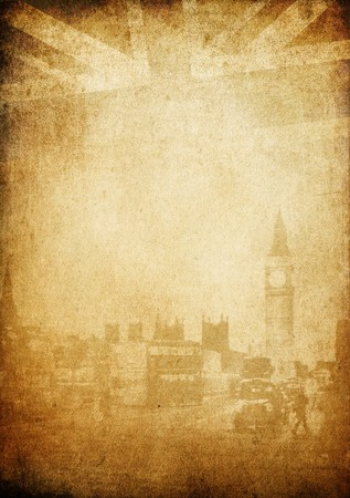 Grunge vintage background. London theme. Buildings of Parliament with Big Ban tower in London UK view from Themes bridge. photo