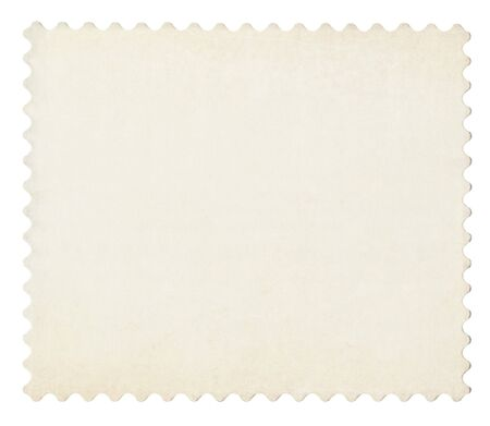 Blank post aged stamp isolated on white. Scanned, With clipping path. photo