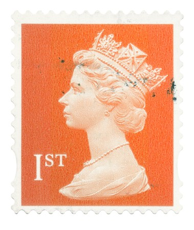 queen elizabeth: UNITED KINGDOM - CIRCA 1993 to 2005: An English Used First Class Postage Stamp showing Portrait of Queen Elizabeth 2nd, circa 1993 - 2005
