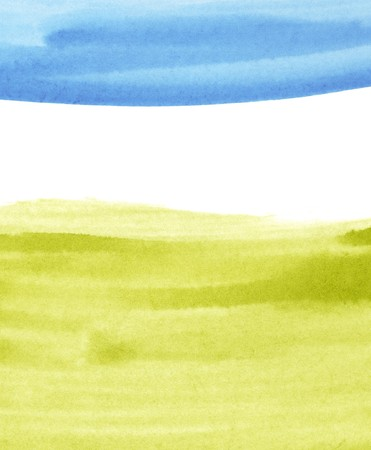 scan paper: Grass and sky watercolor paintings concept background with space for text. Stock Photo