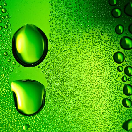 Green water drops background. Square composition. Stock Photo - 7455015