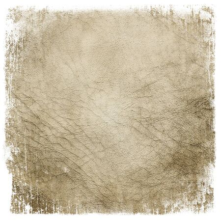 rawhide: Grunge leather framed texture background. Isolated on white.