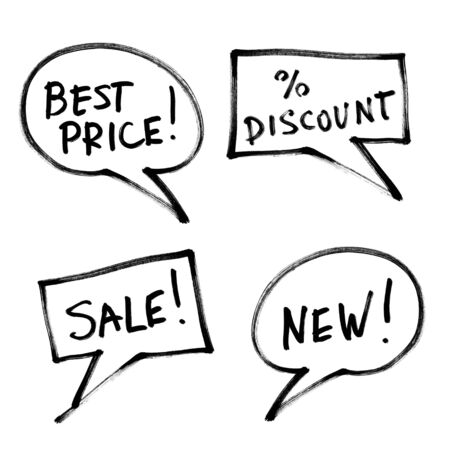 increase sales: Set of popular slogans, increase sales. Hand-drawn, isolated on white.