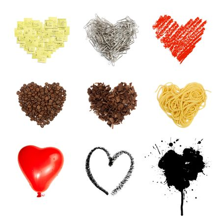Heart shaped set symbols. Nine in one, isolated on white background. photo