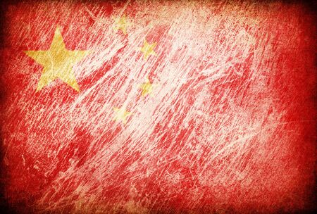 Grunge rubbed flag series of backgrounds. China. photo