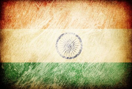 Grunge rubbed flag series of backgrounds. India. photo