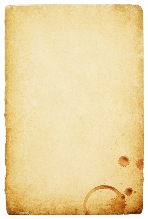 Vintage paper with coffee rings stain. Abstract bisolated background with space for text. photo