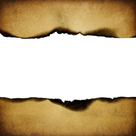 Vintage burned paper background, centerline isolated (space for text). photo