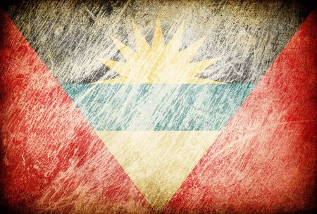antigua barbuda: Grunge rubbed flag series of backgrounds. Antigua and Barbuda. Stock Photo