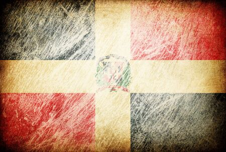 Grunge rubbed flag series of backgrounds. Dominican Republic. photo
