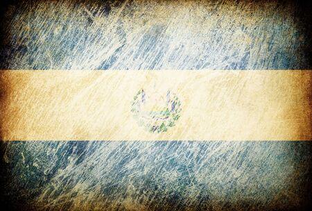 el salvador flag: Grunge rubbed flag series of backgrounds. El Salvador. Stock Photo
