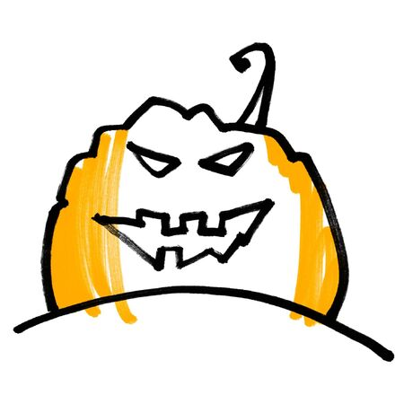 concise: Expressive concise picture pumpkin head. Halloween symbol